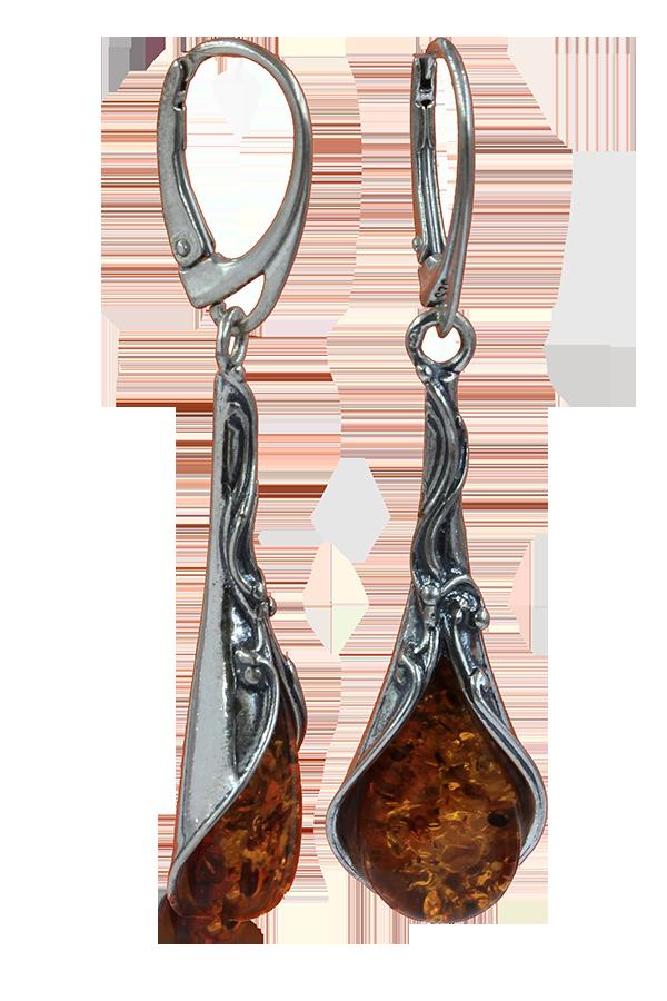 Boucles d'oreilles en ambre cognac