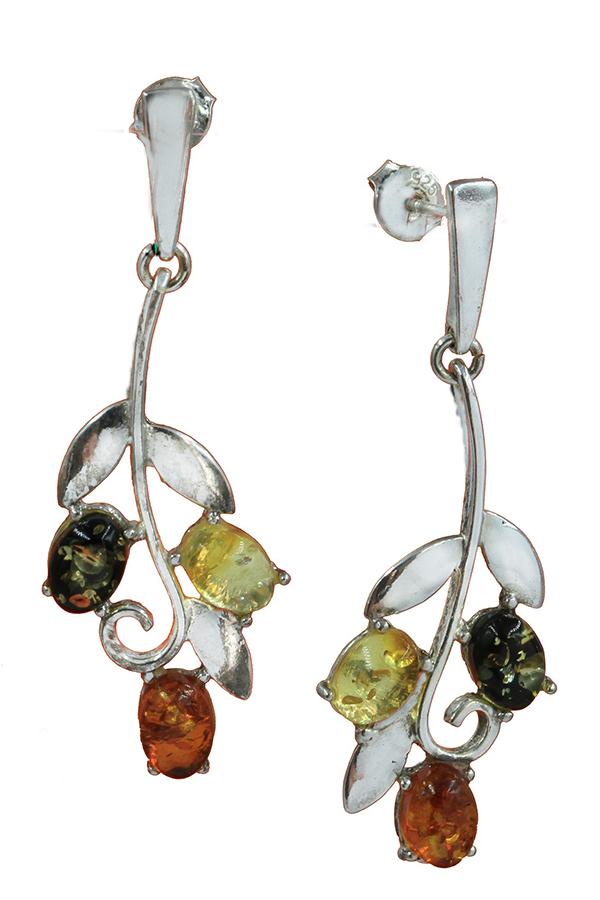 boucles d'oreilles en pierre d' ambre et argent de couleur cognac