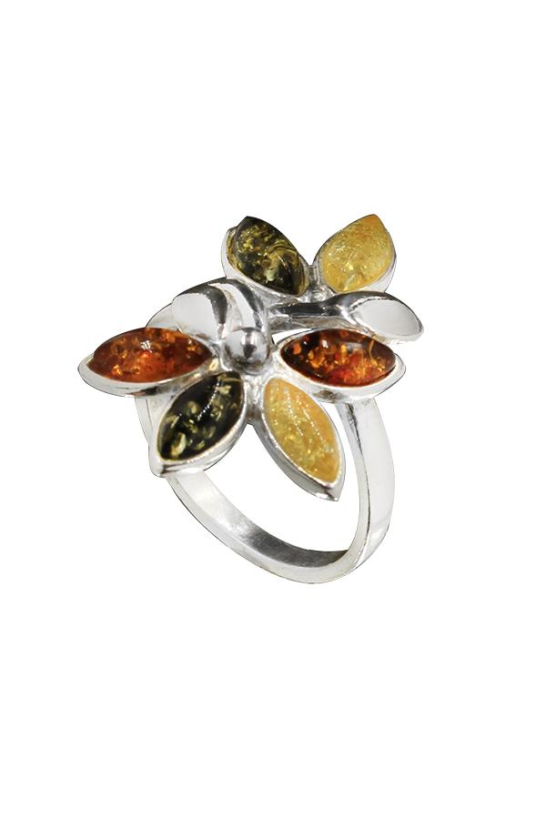 bague en ambre et argent multicolore
