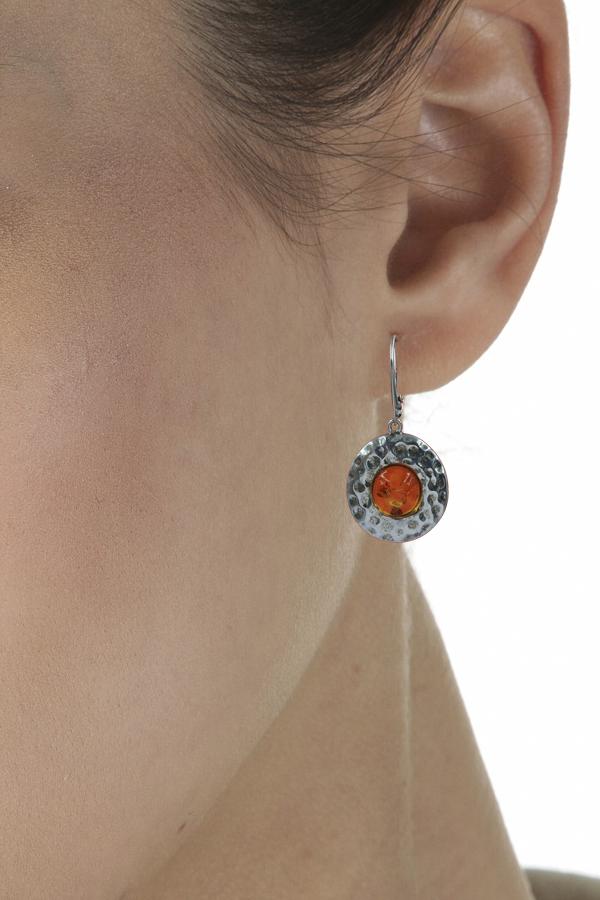 boucles d'oreilles en ambre et argent de la mer Baltique