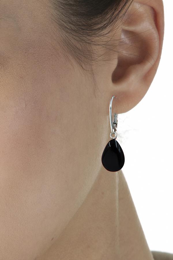 boucles d'oreilles en ambre et argent massif de la mer Baltique couleur noir