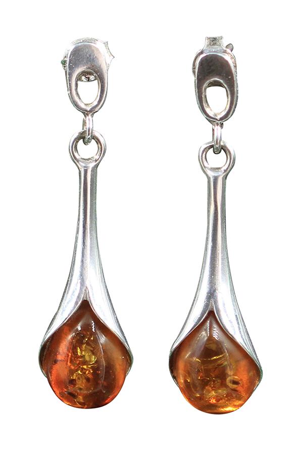 boucles d'oreilles en ambre sur argent de la mer Baltique