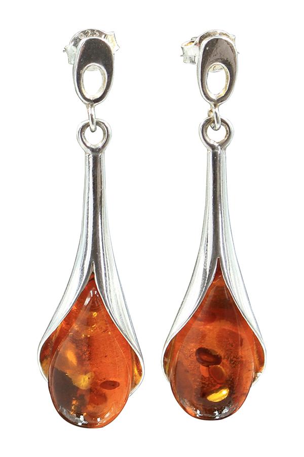 boucles d'oreilles en ambre sur argent de couleur cognac
