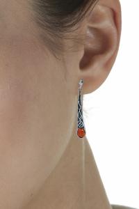 boucles d'oreilles en pierre de l'ambre couleur cognac