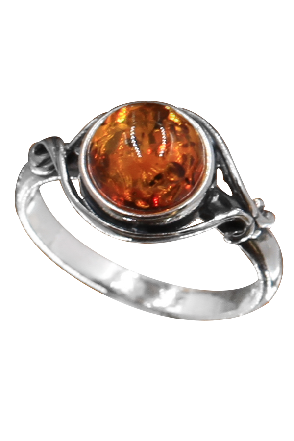 bague en ambre et argent couleur oranget