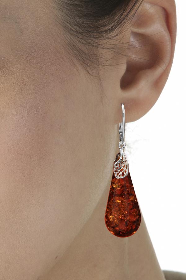 Grosse boucles d'oreilles en ambre véritable et argent