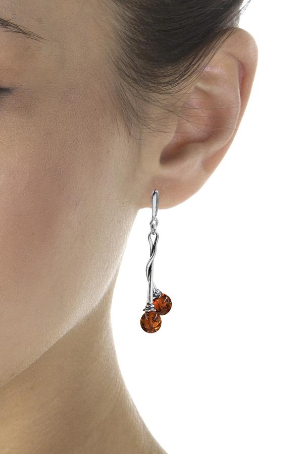 boucles d'oreilles ambre torsadées