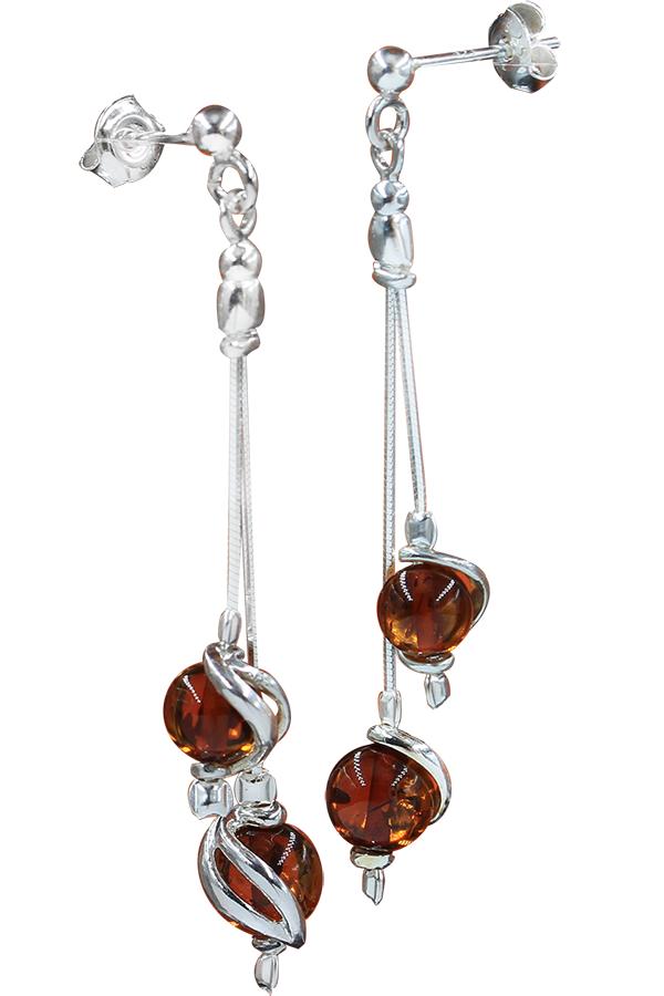 boucles d'oreilles en perle d'ambre