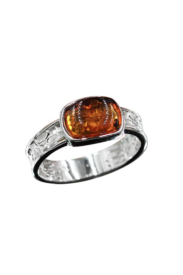 anneau ambre cognac