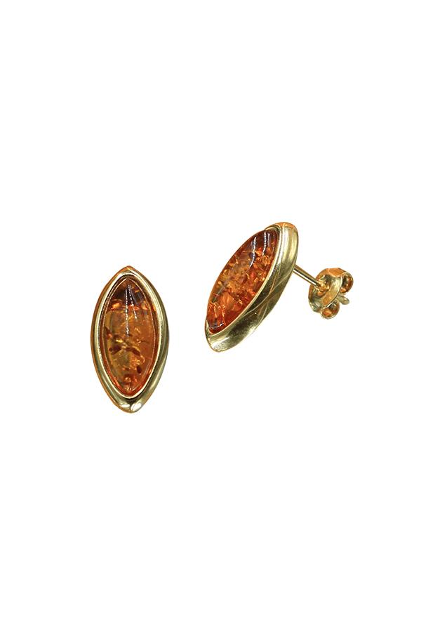clous d'oreilles marquise ambre
